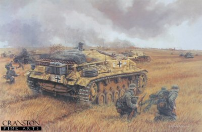 DHM1218. Assault on Voronezh, Russia, 2nd - 7th July 1942 by David Pentland. <p> Sturmgeschutz IIIF of Stug Battalion Grossdeutschland, and supporting infantry from GD Regiment 1 battle against Soviet forces defending the strategically important city of Voronezh on the Don. Combined arms operations such as this proved the value of the assault gun, which took a terrible toll on enemy armour and men alike. <b><p> Signed limited edition of 1150 prints.  <p>Image size 25 inches x 16.5 inches (64cm x 42cm)