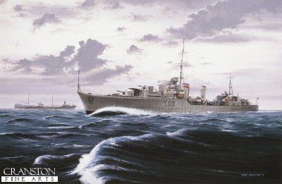 HMS Cossack on convoy duty by Ivan Berryman.