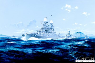 DHM1231.  Aloha Hawaii by Randall Wilson. <p>Battleship USS Pennsylvania off Diamond Head, Hawaii.<b><p>Signed limited edition of 1150 prints. <p> Image size 25 inches x 14 inches (64cm x 36cm)