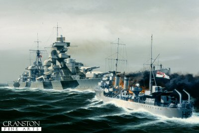 The attack on the Admiral Hipper by HMS Glowworm by Ivan Berryman (Y)