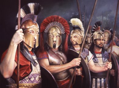 Thermopylae 480BC,  Spartan and Thespaian Hoplites. By Chris Collingwood.