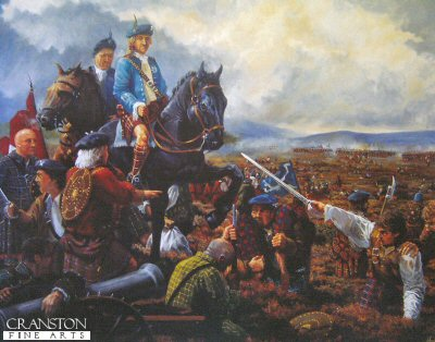 DHM1247.  Culloden, End of the 45 by Mike Shaw. <p>With the Highland charge across the wide expanse of Culloden Moor easily repelled by the government army and the enemy advancing to the right. The Pretender, Prince Charles, hangs his head in concession as the realisation dawns on the Jacobite troops that defeat has been thrust upon them by their own command. <b><p> Signed limited edition of 1150 prints.  <p>Image size 25 inches x 27 inches (64cm x 69cm)