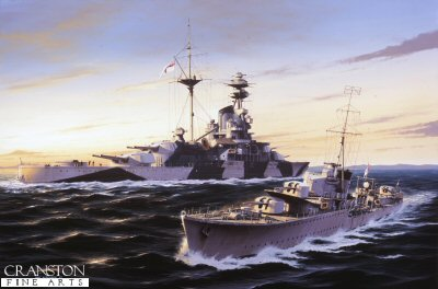 DHM1248.  HMS Kelly passes HMS Royal Sovereign by Ivan Berryman. <p> The destroyer HMS Kelly passes close to the battleship HMS Royal Sovereign as she escorts a convoy in the Mediterranean near Malta.<b><p> Signed limited edition of 1150 prints. <p> Image size 25 inches x 15 inches (64cm x 38cm)