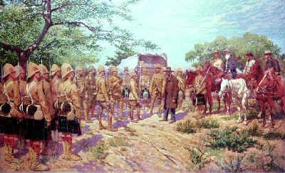 Frederick Roberts Receives the Surrender of the Main Boer Field Army Commander, Piet Cronje at Paardeburg on 27th February 1900. by George Scott.