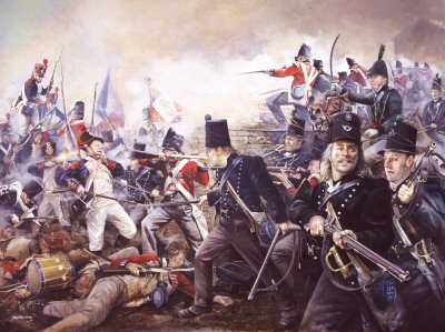 DHM1253. The Defence of La Haye-Sainte, 18th June 1815 by Chris Collingwood. <p> The garrison under the command of Major G Baring consisted of the 2nd Light Battalion of the 2nd Brigade Kings German Legion and reinforced by two Nassau companies.  Here Major Baring is seen leading his Legion against Quiots Brigade (54th and 55th of the line) <b><p> Signed limited edition of 1150 prints. <p> Image size 25 inches x 17 inches (64cm x 43cm)