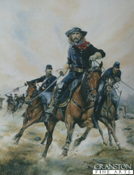 DHM1254. Major General George Armstrong Custer by Chris Collingwood. <p> Major General George George Armstrong Custer by Chris Collingwood.  At the Battle of Five Forks, April 1865. <b><p> Signed limited edition of 1150 prints. <p>Image size 17 inches x 14 inches (43cm x 38cm)