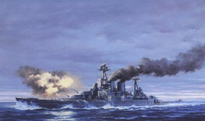 HMS Hood Opens Fire, May 24th, 1941 by Marii Chernev.