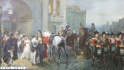 DHM1261.  Summoned to Waterloo by Robert Hillingford. <p>High quality Giclee art prints on thick 300 gsm German watercolour art board. <b><p> Reproduction from an original chromolithograph c.1890s.  Restricted to only 100 copies.<p>  Image size 25 inches x 14 inches (64cm x 36cm) plus text.