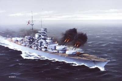 Bismarck Replies to HMS Hood by Ivan Berryman (GL)