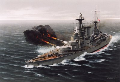 HMS Hood Opens Fire Upon the Bismarck by Ivan Berryman. (Y)