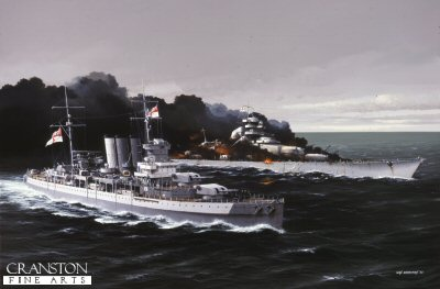 DHM1288.  HMS Dorsetshire by Ivan Berryman. <p> The heavy cruiser HMS Dorsetshire is brought up to sink the blazing wreck of the Bismarck with torpedoes at around 10:30 hours on the morning of May 27th 1941.  The once proud German ship had been ruthlessly pounded into a twisted and burning wreck by the British battleships Rodney and King George V.  HMS Dorsetshire and HMS Maori combed the area of the sinking for survivors, between them picking up a total of 110 out of an original complement of 2,300. <b><p> Signed limited edition of 1150 prints.  <p>Image size 25 inches x 15 inches (64cm x 38cm)