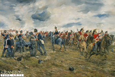 DHM1292.  Waterloo, 18th June 1815 - Charge of the 6th (Inniskilling) Dragoons by Brian Palmer. <p>To the cheers of Vive L&#39;Empereur 17,000 men of d&#39;Erlon&#39;s Corps advanced on the allied left centre in an attempt to break Wellington&#39;s line that was already shaken by a massive artillery bombardment.  To counter this threat, Wellington launched his heavy cavalry.  Forming the centre of the Union Brigade, so called from the composition of English, Irish and Scottish regiments, the Inniskillings charged through the allied infantry and artillery straight to d&#39;Erlon&#39;s advancing coloumns inflicting serious casualties and taking many prisoners.  Despite appalling losses, the heavy cavalry had gained a welcome respite for Wellington&#39;s hard pressed infantry.<b><p> Signed limited edition of 1150 prints. <p> Image size 25 inches x 15 inches (64cm x 38cm)