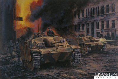 P1293. Escape to the Elbe, Berlin, 3rd May 1945 by David Pentland. <p> Following Hitlers death, the decision was taken by the officers and men of Sturmartillerie Brigade 249 to break out of the doomed capital. Shortly before midnight on the 3rd, what remained of the unit fought to the edge of the city at Spandau. By this time the brigade had been split into two elements, the first under Hauptmann Herbert Jaschke successfully punched their way out to the west. The second group was not so lucky, and its survivors fell into Soviet captivity. <b><p>Postcard<p> Postcard size 6 inches x 4 inches (15cm x 10cm)