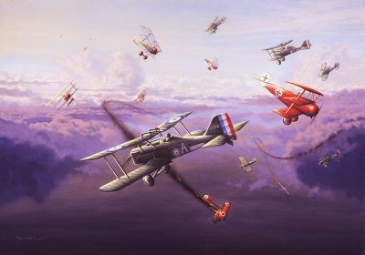 A painting of aeroplanes in World War I engaged in a dogfight