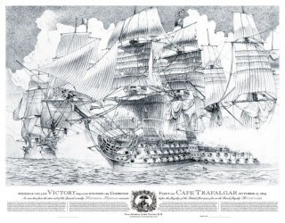 HMS Victory engages the combined fleet of Cape Trafalgar by Robert Burke.