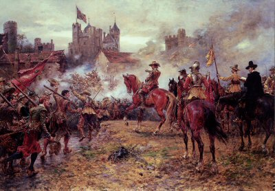 Cromwell at the Storming of Basing House  by Ernest Crofts. (Y)
