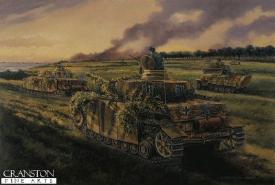 DHM1310B. Dash to the Sea, November 1944 by David Pentland. <p> As allied forces pressed inland towards Caen, the 21st panzer Division launched a counterattack along a narrow three mile corridor between the Canadians on Juno beach and the British on Sword. the charge led by fifty tanks of 22nd panzer regiment and supporting Panzer grenadiers was engaged on its eastern flank by heavy British anti tank fire and the bulk of the force was pinned down or destroyed. ultimately only six PZ IVs and a company of infantry mannered to reach the coast at lion sur mer. their stay however was short lived and within a few hours the arrival of the transports and gliders of the British 6th Airborne directly overhead forced the entire division to pull back for fear of being trapped. <b><p>Signed by Norbert Kujacinski (deceased).<p>Norbert Kujacinski Knights Cross signature series edition of 20 prints (Nos 921 to 940) from the signed limited edition of 1150 prints. <p>Image size 25 inches x 16.5 inches (64cm x 42cm)