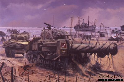 DHM1311C. D-Day, Sword Beach, Normandy 1944 by David Pentland. <p>After suppressing the initial German defences, the Sherman Crab flail tank of Lance Sgt Johnson, 3 Troop C Squadron the 22nd Dragoons, 79th Armoured Division, clears a path through a minefield to allow tanks of 27th Armoured Brigade, and men of 3rd Infantry Division to breakout from the beaches. Fire support from surviving Sherman DD (amphibious) tanks of 13th /18th Hussars (QMO), proved invaluable in the initial push towards Caen <b><p>Signed by <a href=signatures.php?Signature=1219>Sergeant Titch Rayner</a>. <p> Signature Edition of 100 prints from the signed limited edition of 1150 prints. <p> Image size 25 inches x 16.5 inches (64cm x 42cm)
