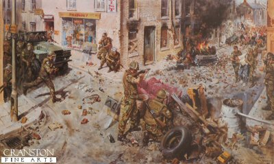 DHM1318. The Tragedy of Ulster 1976 by Terence Cuneo. <p>Terence Cuneo has depicted a scene of street violence.  The angry mod hurls abuse, missiles and petrol bombs at the soldiers who are outnumbered and restricted in their ability to repsond.  Rioting of this sort became less prevalent through the increased efficiency of the Police and Army in containing it, but Terence Cuneos reconstruction typifies the dangerous situation the secuirty forces in Ulster faced during the 1970s.  Published in 1977 by the Army and Navy Club, Pall Mall, London. <b><p> Signed limited edition of 500 prints, of which we have obtained the last 80 copies.  <p>Image size 27 inches x 15 inches (69cm x 38cm)