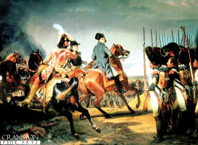 DHM132.  The Battle of Jena, Won by Napoleon by Horace Vernet. <p>The painting shows Napoleons customary informality with the soldiers in his army. Here he is turning to acknowledge the Salutation by a Grenadier of the Imperial Guard. Murat is shown riding behind Napoleon.<b><p>Special edition of 1000 prints. <p> Image size 30 inches x 21 inches (76cm x 53cm)
