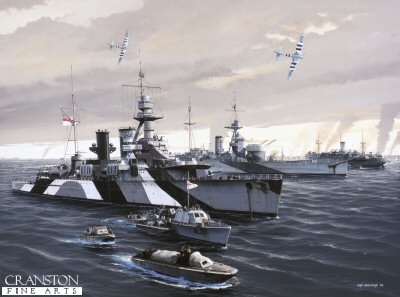 HMS Frobisher and HMS Roberts at Normandy by Ivan Berryman