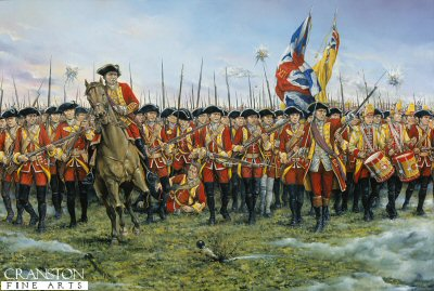 DHM1325.  The 12th (Suffolk Regiment) at the Battle of Minden. 1st August 1759 by Brian Palmer. <p>During the Seven Years War (1756 - 63) a large French army of 52,000 men commanded by Marshal Contades moved from the Rhine to take Minden and threaten the Electorate of Hanover, one of Britains allies in the war.  Ferdinand of Brunswick commanding an allied army consisting of British, Brunswick, Hanoverians and Hessen - Cassell troops numbering 42,000 stood in their way.  The battle began at first light with the allies forming up in 8 columns preparing to advance.  Due to a misunderstanding of orders two brigades, which included the 12th, went into the attack before the rest of the line had properly formed.  With drums beating and colors flying they launched a frontal attack on French cavalry, and against all odds held firm and threw them back in confusion.  By this time the rest of the infantry had arrived in support and the French army was routed.  Minden is remarkable for this unique attack by infantry in line against a mass of cavalry.<b><p>Signed limited edition of 1150 prints. <p> Image size 25 inches x 15 inches (64cm x 38cm)
