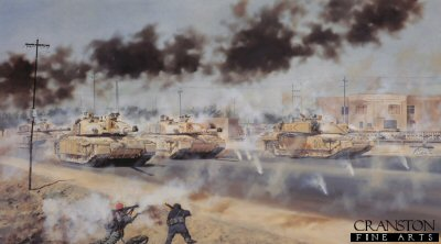 DHM1331.  Cyclops Squadron by David Rowlands. <p>Cyclops Squadron of the 2nd Royal Tank Regiment raiding into Az Zubayr, Iraq, at midday on 26th March 2003. <b><p> Signed edition print. <p> Image size 23.5 inches x 14.5 inches (59cm x 37cm)