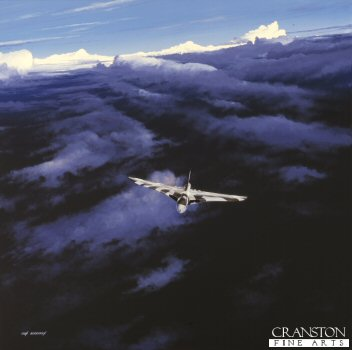 DHM1338. Vulcan B.2, 50 Sqn, Waddington by Ivan Berryman. <p>The Vulcan B2  of 50 Squadron heads to Ascension Island from its base at Waddington, where it had been completely overhauled, including the fitting of a refuelling probe, which had to be found from various stores at Catterick, Goosebay in Labrador, Canada, and Wright-Patterson Airfield in Ohio, USA. The Vulcan would take part in the seven planned bombing missions during the Falklands campaign codenamed Operation Black Buck. Each mission would require a solo Vulcan Bomber (plus an airborne reserve Vulcan in case of problems with the first) to fly and bomb the Argentinean airfield at Port Stanley, requiring the support of 12 Handley Page Victor K2 tankers of 55 and 57 squadron on the outward journey and 2 Victors and a Nimrod on the return journey.<b><p> Signed limited edition of 1150 prints. <p>Image size 25 inches x 20 inches (64cm x 51cm)