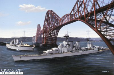 DHM1346.  HMS Hood Passing Under the Forth Rail Bridge by Ivan Berryman. <p> HMS Hood passes beneath the forth Bridge on her way to Rosyth during one of her many visits to the Firth in the 1930s.  the cruiser HMS Norfolk lies at anchor in the middle distance. <b><p> Signed limited edition of 1150 prints. <p> Image size 25 inches x 15 inches (64cm x 38cm)