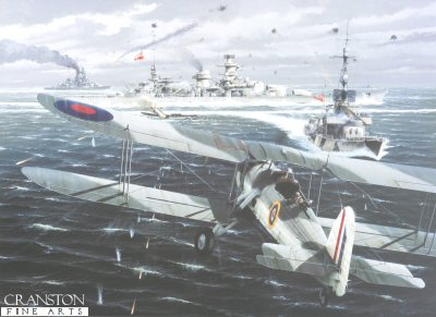 DHM1349.  Against All Odds - Attack on the Scharnhorst by Ivan Berryman. <p> Swordfish of 825 Sqn led by Lt-Cdr Esmonde begin their heroic attack on the battlescruisers Scharnhorst and Gneisenau and the heavy cruiser Prinz Eugen as they make their way up the English Channel from Brest during Operation Cerberus on 12th February 1942.  Although all the aircraft were lost and no significant damage was done to the German fleet, all the pilots were decorated for their bravery and Lt-Cdr Esmonde received the first Fleet Air Arm VC to be awarded, albeit posthumously. <b><p> Signed limited edition of 1150 prints. <p> Image size 25 inches x 15 inches (64cm x 38cm)