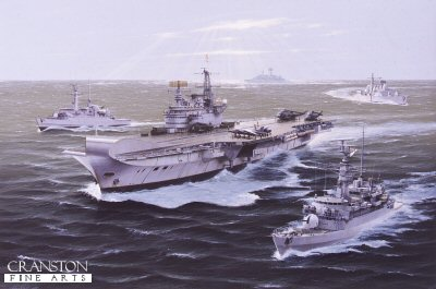 DHM1351.  Falklands Task Force by Ivan Berryman. <p> Spearheading the Falklands Task Force as it heads south in 1982, the carrier HMS Hermes is shown in company with two Type 21 frigates, HMS Arrow on the left and HMS Ardent in the near foreground.  In the far distance, HMS Glamorgan glints in the sun as Type 42 HMS Sheffield cuts across behind Hermes.  All pennant numbers were painted out and a vertical black identification stripe applied to all the Type 42s to distinguish them from their Argentine counterparts. <b><p> Signed limited edition of 1150 prints. <p> Image size 25 inches x 15 inches (64cm x 38cm)