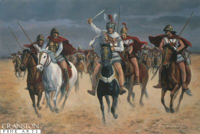 DHM1359. Alexander at Arbela, Plain of Gaugamela, Iraq, 331BC by David Pentland. <p>Flanked by his Companion heavy cavalry, Alexander, King of Macedon, led the charge which broke through the left wing of the Persian army, and forced Darius, the Great King, to flee the battlefield.  Persian success against his own left wing forced him to delay his pursuit of the routed troops, but by the end of the day the battle was won, and the heart of the Persian empire lay at his feet. <b><p> Signed limited edition of 1150 prints. <p>Image size 24 inches x 15 inches (61cm x 38cm)