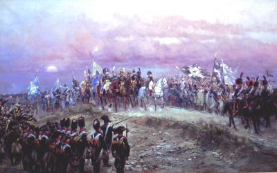 DHM138.  Soir D Jena by E Detaille. <p>Napoleon defeated the Prussians on the 14th October 1806, a prelude to the Occupation of Berlin. <b><p> Open edition print. <p> Image size 30 inches x 16 inches (76cm x 41cm)