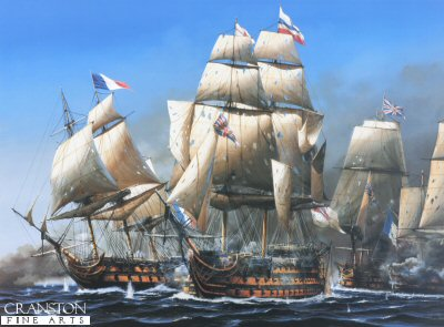 DHM1381.  The Battle of Trafalgar, 1.00pm by Ivan Berryman.  <p>Having taken terrible punishment from the guns of the allied French and Spanish fleet as she broke through the line, HMS Victory found herself engaged by the French Redoutable, a bitter battle that saw the two ships locked together, pouring shot into one another with terrifying ferocity and which left the British Admiral, Lord Horatio Nelson fatally wounded.  In the background, HMS Neptune is emerging through the gunsmoke and is about to pass the wreck of the French flagship Bucentaure which Victory so spectacularly routed as she passed through the allied line.  HMS Temeraire, which followed Victory through, and which was also to become embroiled on the Redoutables fight, is obscured by the smoke beyond the British flagship. <b><p> Signed limited edition of 1150 prints. <p> Image size 25 inches x 16 inches (64cm x 41cm)