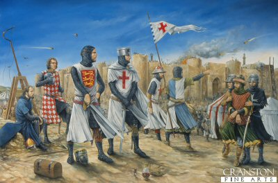 DHM1382. Richard the Lionheart by Brian Palmer. <p>Richard the Lionhearts tactical skills and military training played a substantial role in the capture of Acre in 1191 by the Crusaders. But Richard the Lionheart was ruthless and after the capture of the city he marched 2,700 Muslim soldiers onto the road of Nazareth and in front of the Muslim army positions, had them executed one by one.  But Richard the Lionheart was up against a great leader in Saladin and the crusades did not always go his way.  After he negotiated the Treaty of Jaffa with Saladin and secured the granting of special rights of travel around Palestine and in Jerusalem for Christian pilgrims, Richard the Lionheart started his journey back to England in 1192.  He was shipwrecked, and captured by the German Emperor Henry VI, only being released after a 150,000 mark ransom was paid.  This money was raised by taxes in England.<b><p> Signed limited edition of 1150 prints.<p> Image size 25 inches x 15 inches (64cm x 38cm)