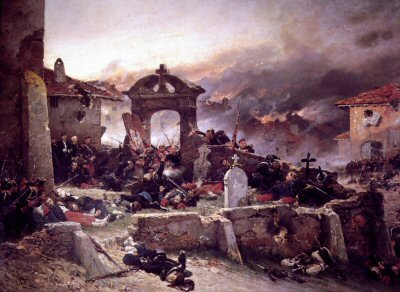 DHM139.  Le Cimitiere De Saint Pravat by Alphonse De Neuville. <p>Prussian troops storm the Cemetery of Saint Pravat after a desperate defence.  Gravelotte-St-Privat was the turning point in the Franco-Prussian War leading directly to  the final defeat of the French at Sedan, the collapse of Napoleon IIIs regime and the proclamation of the German Empire.   <b><p> Open edition print. <p> Image size 30 inches x 19 inches (76cm x 48cm)