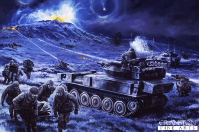 DHM1390AP.  Battle for Wireless Ridge, Falklands, 13th June 1982 by David Pentland. <p>Captain Fields 2 Scimitar and 2 Scorpion light tanks of 3 Troop The Blues and Royals along with the Milan platoon, provide vital covering fire for 2 Paras assault on the North Spur Wireless Ridge (Apple Pie)  Following lessons learned at Goose Green additional support was available from artillery, mortars, machine guns and even HMS Ambuscade.  Despite the attack being conducted at night, with frequent snow flurries, and minefields, all the objectives were taken, and at first light the road to Port Stanley lay open and unopposed. <b><p>Limited edition of 50 artist proofs.  <p>Image size 25 inches x 15 inches (64cm x 38cm) Available from October 2005.