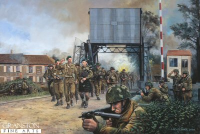 DHM1394.  Piper Bill, Pegasus Bridge, Normandy, 13.00hrs, 6th June 1944 by David Pentland. <p> Commandos of 1st Special Service Brigade, led by Lord Lovat, are piped past the defenders of the Caen canal (Pegasus) bridge by piper Bill Millin.  The bridge was originally taken in a coup de main attack by the gliders of 6th Airborne Divisions D Company, 2nd battalion Oxfordshire and Buckinghamshire Light Infantry, led by Major John Howard earlier that morning.  Shortly afterwards the glider troops were reinforced by 7 Parachute Battalion, and together they held the area against German attacks until the main British forces landing at Sword beach could fight through to join them. <b><p>Signed limited edition of 1150 prints. <p> Image size 25 inches x 15 inches (64cm x 38cm)