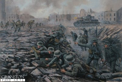 DHM1395. Battle on the Volga, Stalingrad, Southern Russia, 30th September 1942 by David Pentland. <p> Germany Infantry assault troops and PzIV tank of the 24th Panzer Division are counterattacked by Soviet riflemen of General Chuikovs 62nd Army as they push towards the Red October factory works. <b><p> Signed limited edition of 1150 prints.  <p>Image size 25 inches x 15 inches (64cm x 38cm)