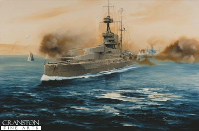 HMS Queen Elizabeth, Dardanelles Campaign 1916 by Randall Wilson (P)