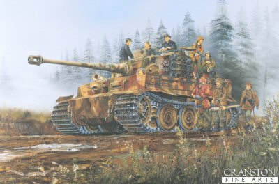 DHM1402E. Tiger I of the 3rd SS Totenkopf Division, Poland 1944 by Randall Wilson. <p> The crew of a late model Tiger I of the 3rd SS Totenkopf Division, manage to take a short break from the fighting around Warsaw, during the German assault, having pushed the Soviet forces out of the city and across the Vistula River. <b><p>Signed by <a href=signatures.php?Signature=904>Unteroffizier Dr Franz-Wilhelm Lochmann</a>. <p>Franz-Wilhlem Lochmann Tank Ace signature series edition of 10 prints (Nos 101 - 110) from the signed limited edition of 1150 prints. <p> Image size 25 inches x 15 inches (64cm x 38cm)