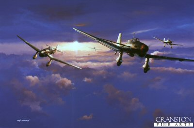 DHM1405B. Dawn Raiders by Ivan Berryman. <p> Junkers JU87 R-1 Stukas find a gap in the cloudbase en route to their target during the Norwegian Campaign of 1941. <b><p> Signed by Hans Krohn. <p>Hans Krohn Knights Cross signature series edition of 100 prints from the signed limited edition of 1150 prints. <p> Image size 25 inches x 15 inches (64cm x 38cm)