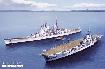 HMS Vanguard and HMS Indefatigable  by Ivan Berryman