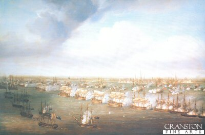 DHM142.  The Battle of Copenhagen, 2nd April 1801 by Pocock. <b><p>Open edition print. <p> Image size 30 inches x 18 inches (76cm x 46cm)