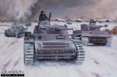 DHM1421. The Panzer Count by David Pentland. <p> Generalleutnant Hyazinth Graf Strachwitz von Gross-Zeuche und Camminetz,  (nicknamed The Panzer Count), in the vanguard of Panzer Regiment Gross Deutchlands thrust towards Belogrod. One of the most spectacular armour commanders of all time he led his mixed force of PzIVs and Tiger 1s on a series of successful battles to form a northern pincer around Kharkov, vital to the retaking of the city. For his exploits he was awarded the swords to his Knights Cross. <b><p> Signed Limited Edition of 200 Giclee paper prints. <p>Image size 25 inches x 16 inches (64 cm x 41cm)