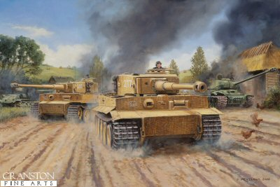 DHM1422. The Tigers Roar, Malinava, Latvia, July 22nd 1944 by David Pentland. <p>1st Lieutenant Otto Carius commanding 2nd Company of the 502nd heavy tank Battalion, with eight Tigers, advanced towards the village of Malinava (a northern suburb of Dunaburg) , to halt the Russian advance. Following a reconnaissance Lieutenant Otto Carius explained his plan to take the village. He decided to attack using only two tanks because there was only one narrow road leading to the village. Six Tigers therefore remained in the reserve while Lt Carius and Lt. Albert Kerschers (one of the most decorated commanders of sPzAbt 502) tanks moved towards the village. Speed was the essence and afterwards, Otto Carius recalls that the entire battle did not last more than 20 minutes. in this short time, Carius and Kerscher knocked out 17 of the new JS-1 Stalin and 5 T-34 tanks. Following this he deployed 6 of his tanks in an ambush against the remainder of the Soviet tank battalion advancing toward him, unaware of their lead companies demise. Surprise was complete and a further 28 tanks were destroyed along with their supporting trucks and vehicles, the complete battalion had been wiped out for no loss. <b><p>Signed Limited Edition of 200 Giclee art prints. <p>Image size 25 inches x 16 inches (64cm x 41cm)