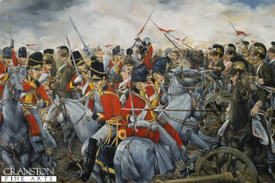 Charge of the 2nd Royal North British Dragoons (Scots Greys) at Waterloo by Brian Palmer. (GS)
