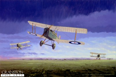 DHM1426. Grid Caldwell by Graeme Lothian. <p> Grid Caldwell, the top New Zealand Ace with 25 victories in his SE5A of 74 Squadron, is shown taking off from his home airfield during the Great War. Keith Logan (Grid Caldwell) was born 16th October 1895.  At the outbreak of World War One, Caldwell joined the territorial army.  He attempted to enlist with the New Zealand expeditionary force destined for Gallipoli but was refused.  In October 1915 he paid the sum of &pound;100 to join the first class of the New Zealand Flying School.  In January 1916 Grid Caldwell arrived in England and was commissioned into the Royal Flying Corps in April that year.  In July 1916 he was posted to No.8 Squadron, flying BE2Cs and Ds on observation duty.  It was on 18th September 1916 his first aerial victory was scored, shooting down a Roland CII.  He transferred to 60 Squadron in November and flew Nieuport 17 fighters and was promoted to Captain in February 1917.  During this period he scored further victories, shooting down Albatros Scouts, and on 17th September was awarded the Military Cross.  In October 1917 he was posted back to England as an instructor.  In March 1918, promoted to Major, he was given command of 74 Squadron RAF flying SE5As.  The squadron under his command was credited with 140 aircraft destroyed and 85 out of control.  This tally was scored in the last eight months of the war with the loss of only 15 pilots killed or taken prisoner.  During his wartime flying, he had fought dogfights with German aces Werner Voss and Herman Becker, and he once survived a mid-air collision, bringing his badly damaged aircraft to ground level, jumping out before it crashed.  He was credited with 11 aircraft destroyed, 3 shared destroyed or captured and 10 out of control, and 1 further shared out of control.  During World War Two he was station commander at Woodbourne and later Wigram and posted to India in 1944.  After the war he was made commander of the British Empire.  He retired from the RNZAF in 1956, and sadly died of cancer in Auckland on 28th November 1980.<b><p> Signed Limited Edition of 200 Giclee paper prints.<p> Image size 25 inches x15 inches (64cm x 38cm)
