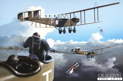 DHM1429B. Difficult Journey Home by Ivan Berryman. <p>Handley Page 0/400s are attacked by German Albatross fighters as they return home from a raid during 1918. <b><p>Small signed limited edition of 50 prints. <p>Image size 12 inches x 8 inches (31cm x 20cm)
