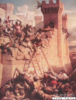 Guillaume de Clermont defending Ptolemais (Acre) 1291 by Dominque Louis.